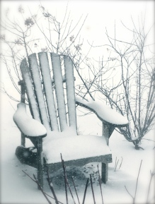 Winter scene of garden chair
