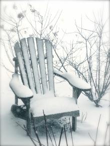 Winter scene of garden chair