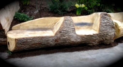 Log patio bench