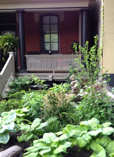 Lush garden with fountain