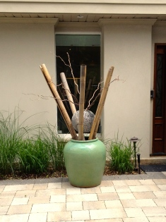Bamboo lengths and ornamental sphere