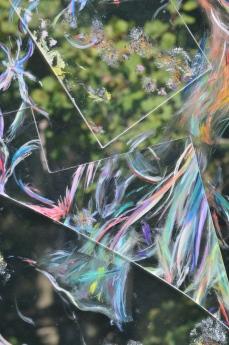 Painted glass in garden