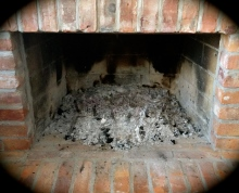 Ash in fireplace