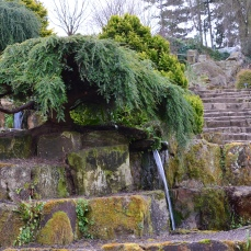 Water feature in rockery
