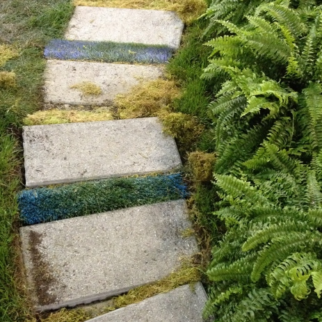 Stone path with turf