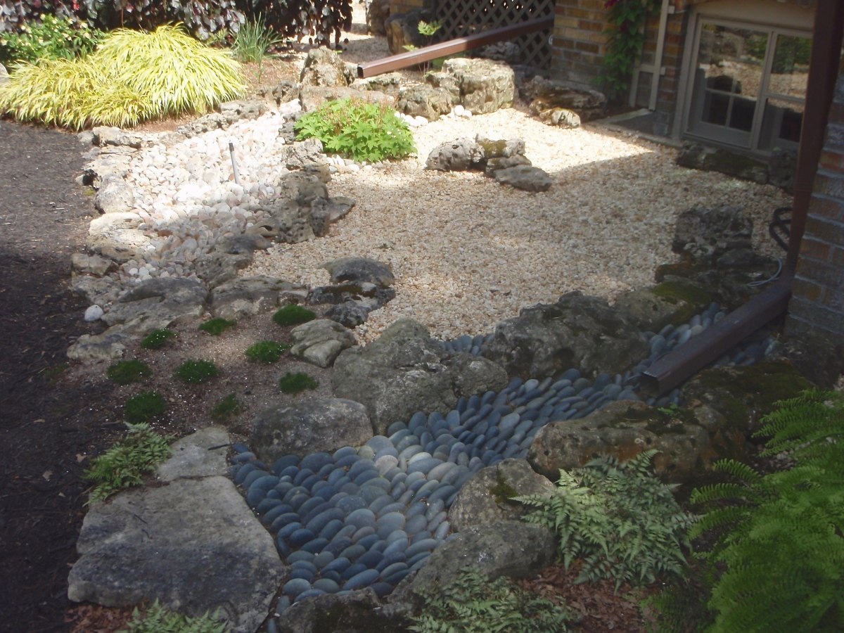 Dry creeks for drain pipes