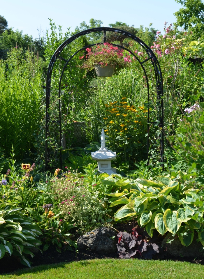 Arch and hanging pot