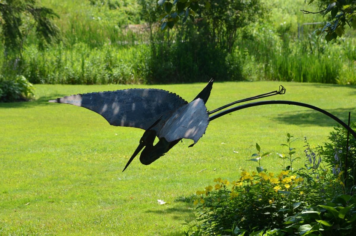 Heron sculpture.