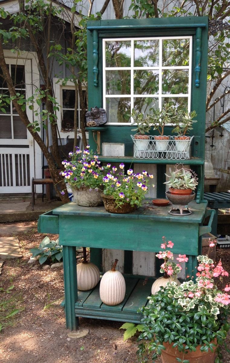 Plants on cupboard