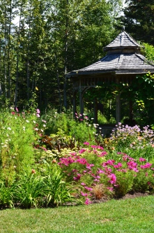 What is it about gazebos that attract people. This one overlooks wildly planted beds of flowers and a small pond. I had to wait a long time before I could catch a photo of it without people in it and around it. (Photographed at Reford Gardens, on the south shore of the St. Lawrence on the Gaspe Peninsula, Quebec, August, 2014.)
