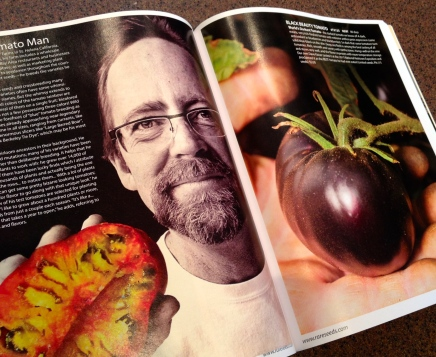 Editorial spread featuring unusual tomatoes