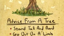 A hand drawn image of prose Advice From A Tree