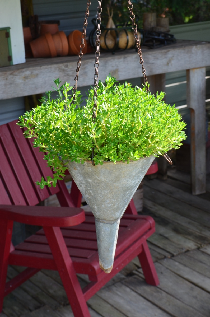 A large painted funnel is used as a plant container.