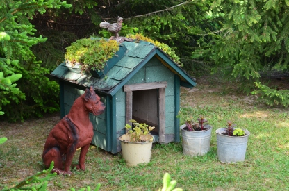 The roof of a dog house is finished with plants.