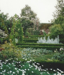 Precisely trimmed hedges in the White Garden at Sissinghurst