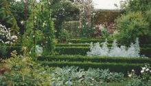 Precisely trimmed hedges in the White Garden at Sissinghurst