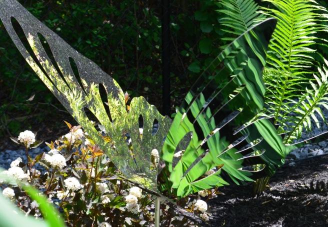 Close up of a metal butterfly garden sculpture