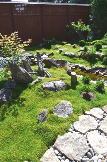 A moss garden has rocks placed to appear like sculptures