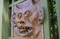 A comical ceramic face