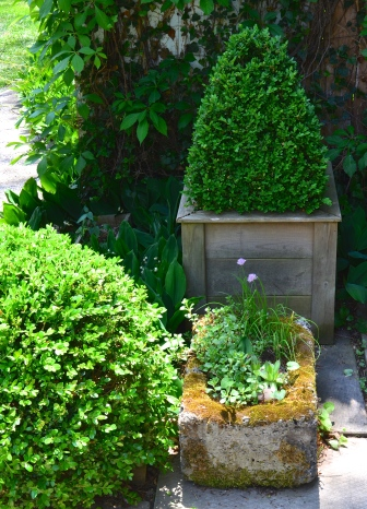 Plant containers combine rustic and formal styles in a small garden.