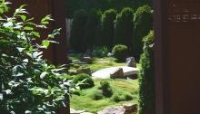 An entrance through a tall fence leads to a mossy zen garden