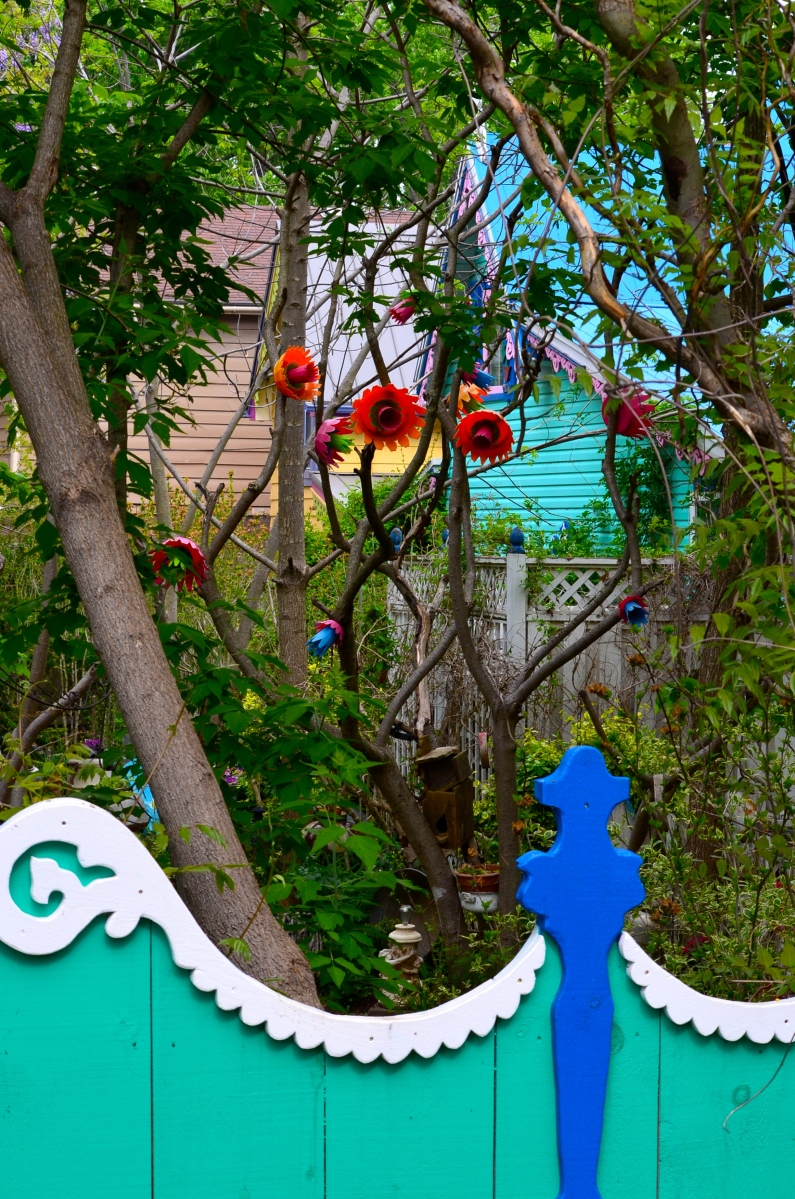 A fence in Grimsby Beach is as artistic as the garden it surrounds