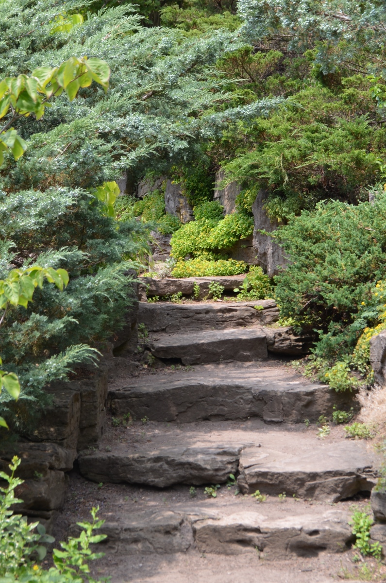 A stone staircase of roughly shaped stone.