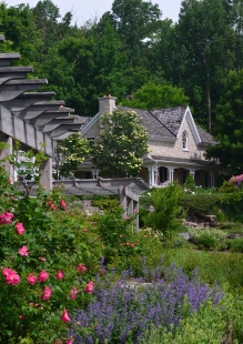 A view of two rose pergolas with a country house in the background