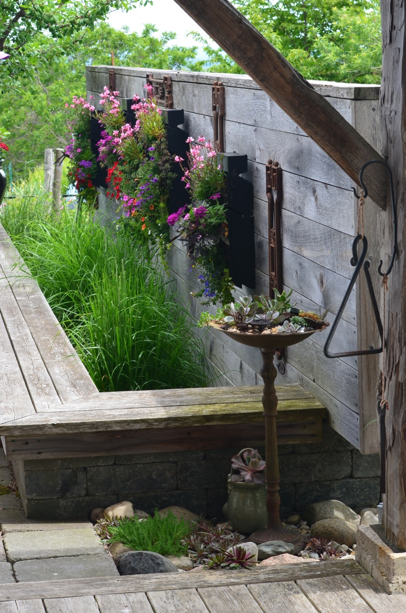 A plank wall supports hanging flower containers and is part of a pool with bench.