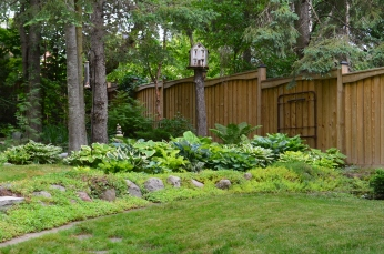 Garden design ideas in a small garden include use of lawn and rocks to make different spaces.