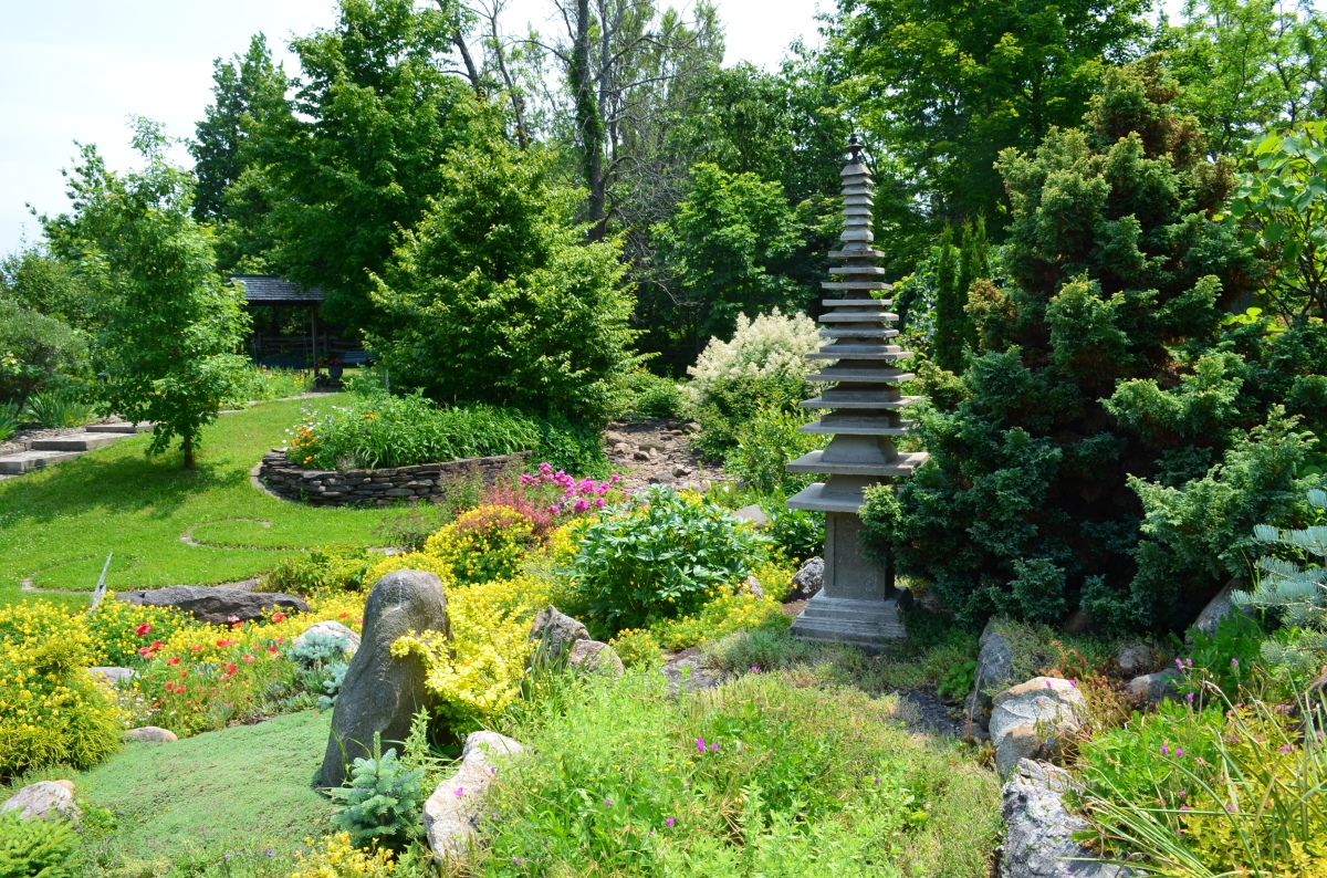 Garden design seen in a view of Keppel Croft gardens incorporating native rock.