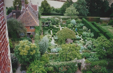 An aerial view of the White Garden at Sissinghurst.