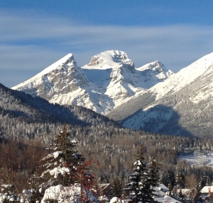 Distinctive mountain peaks overlook downtown Fernie, B.C.