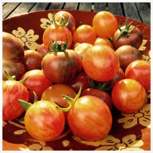 A bowl of heirloom cherry tomatoes.