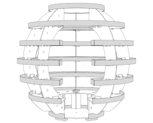 A line drawing of The Growroom, an original work by SPACE10 and architects Mads-Ulrik Husum and Sine Lindholm