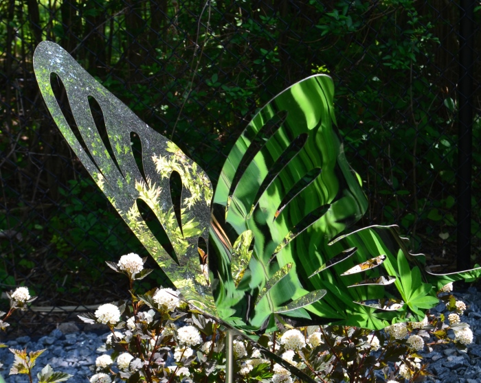 Stainless steel butterfly garden sculpture.