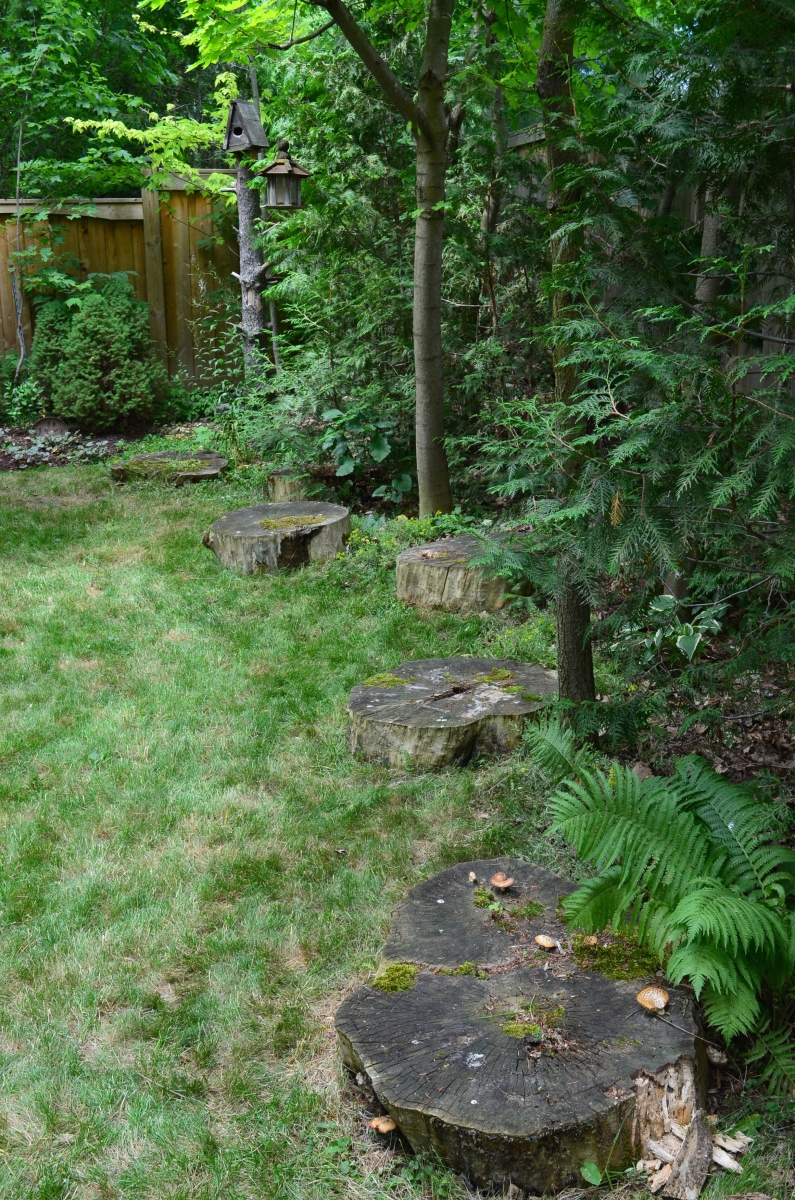 A row of tree stumps create a border along the edge of a lawn.