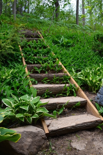 A staircase in a large woodland garden uses logs as treads