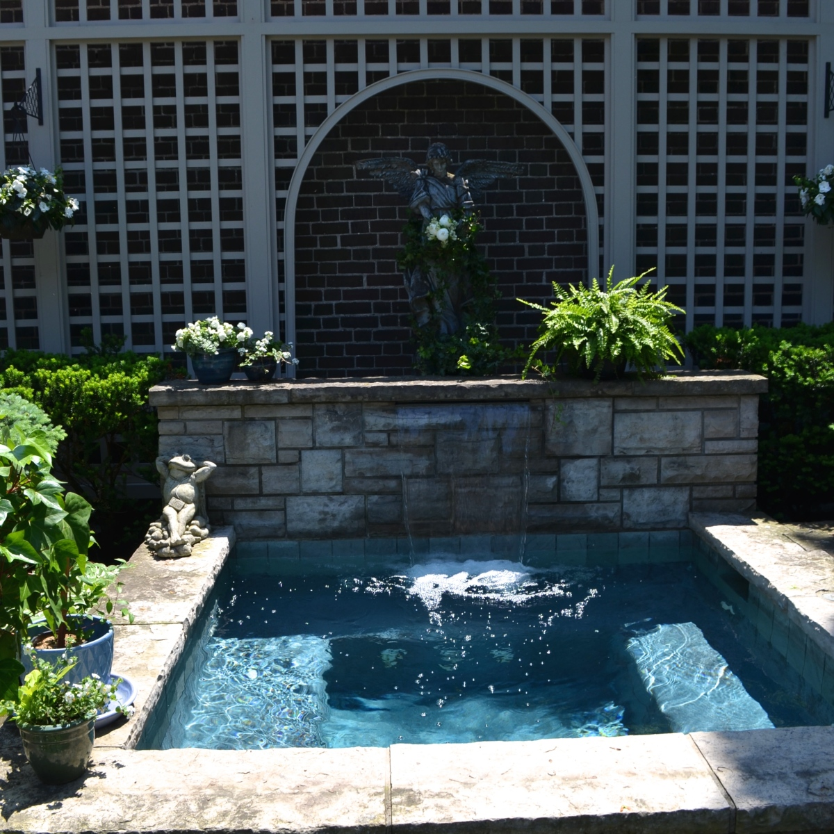 A plunge pool can work as a garden focal point.