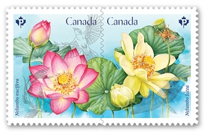 Canada Post spring stamps feature lotus blossoms.